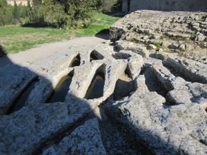 Water-filled tombs in Montmajour Abbey