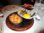 Shrimp casserole, mussels.