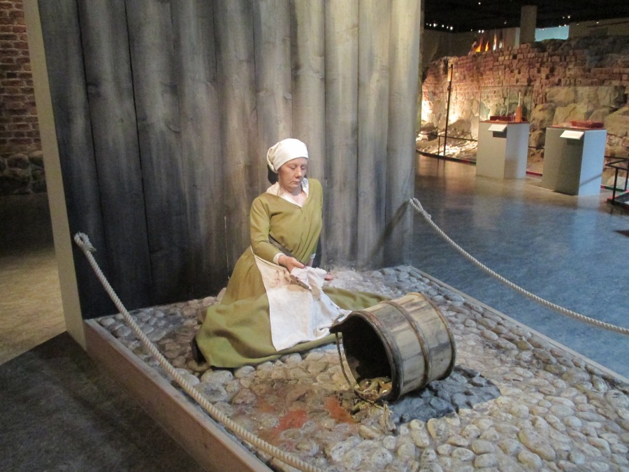 Woman dying of the plague, Medieval Museum